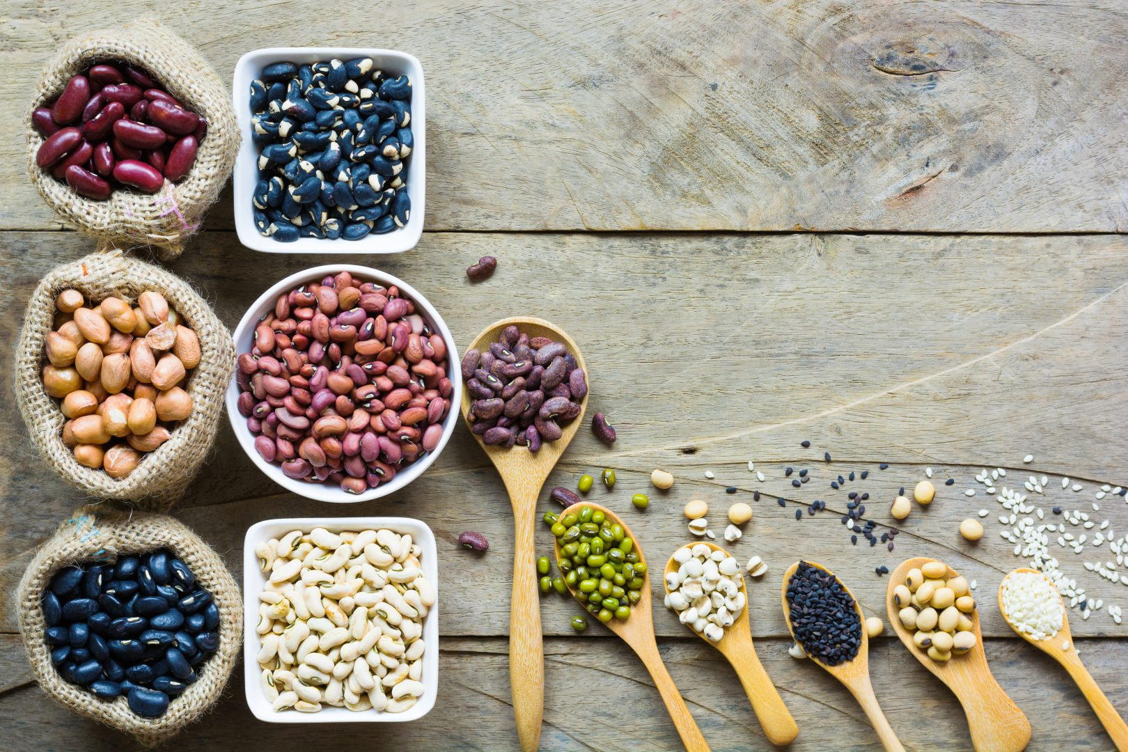 Group of colorful various beans or lentils and whole grains seed